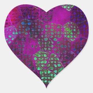 Violet Batik Heart Sticker