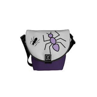 Violet & Black Vector Ants Messenger Bag
