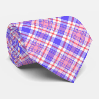Violet Blue and Pink Plaid Tie