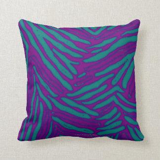 Violet Blue Evergreen Zebra Stripes Throw Pillow