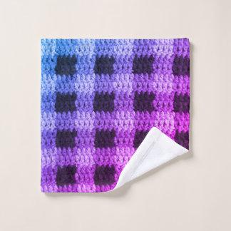 Violet Blue Gingham Plaid Squares Crochet Print on Wash Cloth