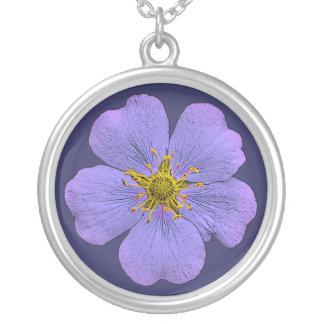 Violet blue potentilla flower pendant necklace