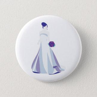 Violet Bouquet Bride 2 Inch Round Button