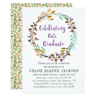 Violet Bud Wreath And Purple Foil Graduation Party Card