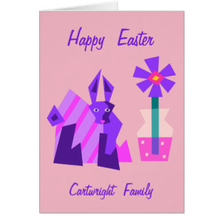 Violet Bunny and Flower Easter Card