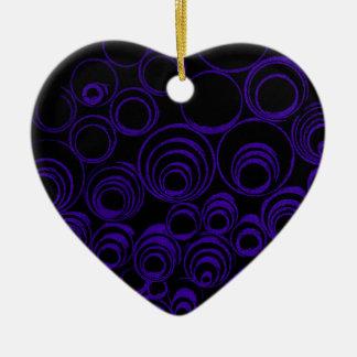 Violet circles rolls, ovals abstraction pattern UV Ceramic Heart Ornament