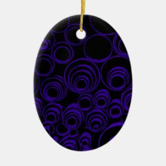 Violet circles rolls, ovals abstraction pattern UV Ceramic Oval Ornament