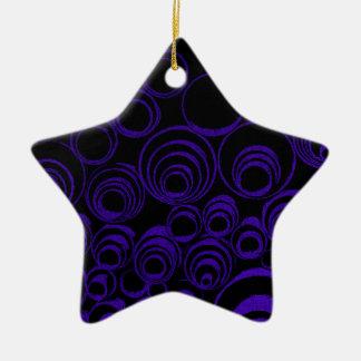 Violet circles rolls, ovals abstraction pattern UV Ceramic Star Ornament