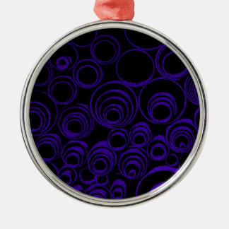 Violet circles rolls, ovals abstraction pattern UV Silver-Colored Round Ornament