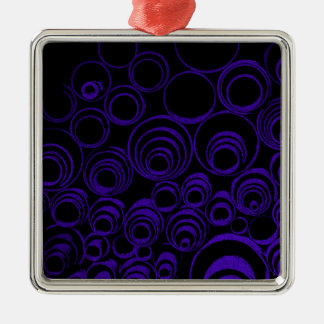 Violet circles rolls, ovals abstraction pattern UV Silver-Colored Square Ornament