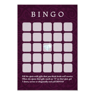 Violet Damask Wedding/Bridal Shower Bingo Cards