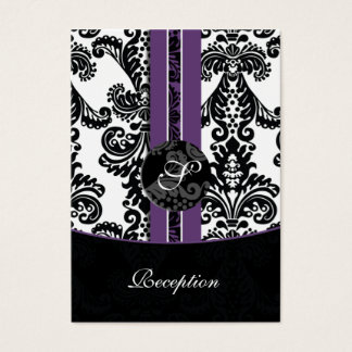 violet damask wedding Reception Cards