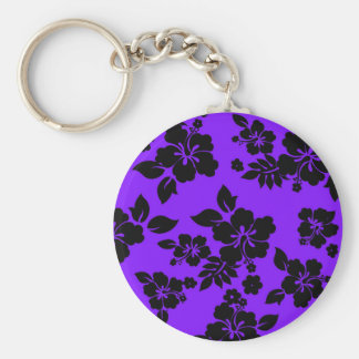 Violet Dark Hawaiian Basic Round Button Keychain