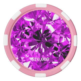 Violet Diamond Gem Stone Poker Chip Stripe Edge