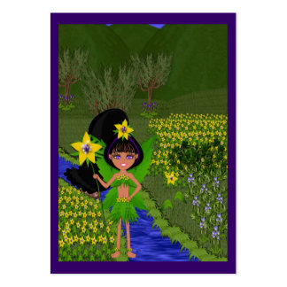 Violet Faery in Field of Flowers Gift Tags Business Card Templates