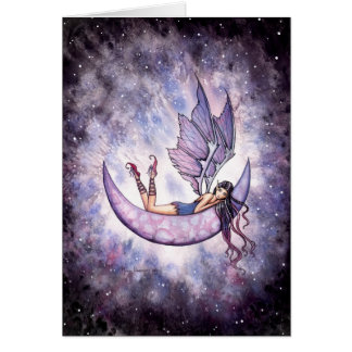 Violet Fairy on the Moon Card by Molly Harrison