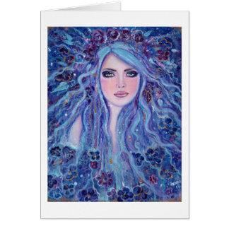 Violet fantasy bohemian greeting card by Renee