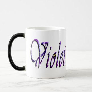 Violet Female Name Logo, Magic Mug