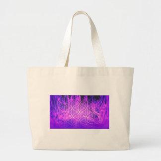 Violet Flame Flower of Life Large Tote Bag