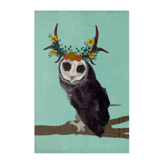 VIOLET FLORAL ANTLER OWL ACRYLIC WALL ART