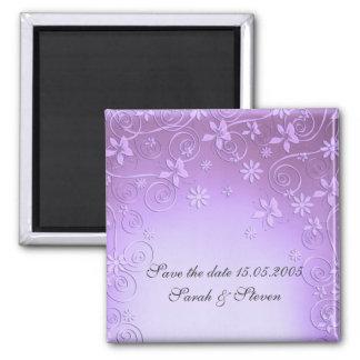 Violet Floral Art Save date Magnet