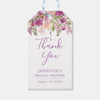 Violet Floral Bridal Shower Thank You Tags
