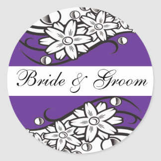 Violet Floral bride & Groom Wedding Envelope Seals Round Sticker
