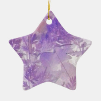 Violet Floral Ceramic Star Ornament
