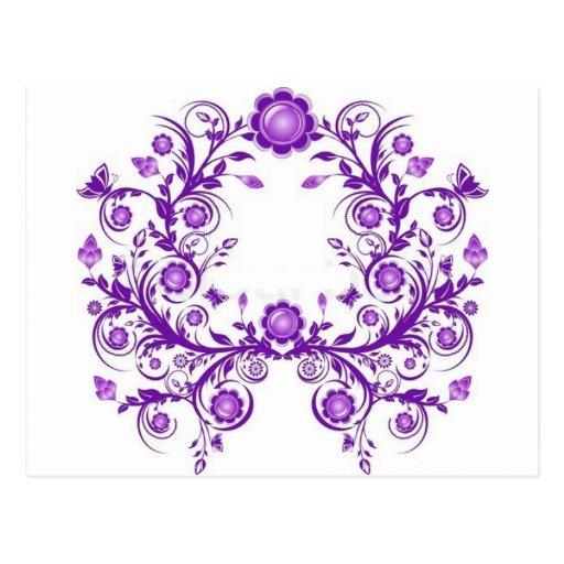 violet floral mehndi henna art postcards