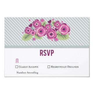Violet Floral RSVP Card