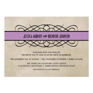 Violet Flourish Border Wedding Invitation