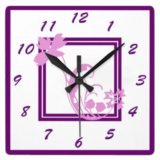 Violet Flower Frame Wall Clock