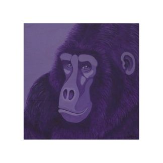 Violet Gorilla Wood Panel Wall Art Wood Print