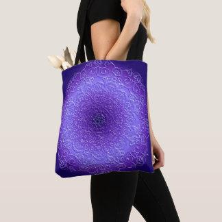 Violet gradient mandala tote bag