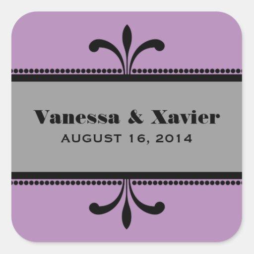 Violet/Gray Fancy Art Deco Wedding Stickers