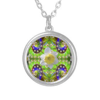 VIOLET GREEN GARDEN  SPIRAL &  DAFFODILS SILVER PLATED NECKLACE