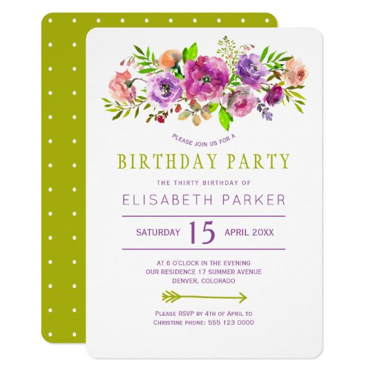 Violet green rustic floral bohemian birthday party card
