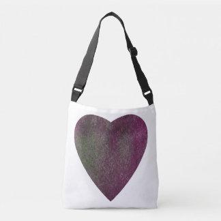 Violet Green Watercolor Heart Crossbody Bag