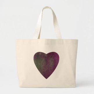 Violet Green Watercolor Heart Large Tote Bag