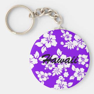 Violet Hawaiian Basic Round Button Keychain