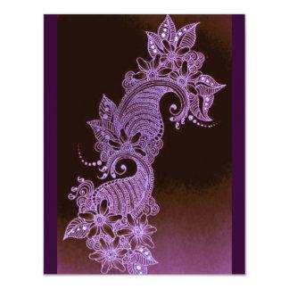 violet henna mehndi floral 2 4.25x5.5 paper invitation card