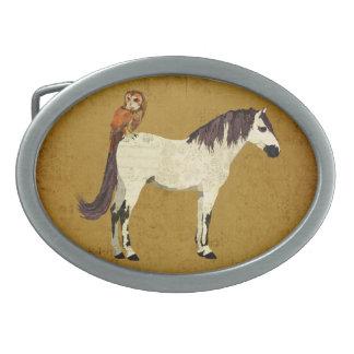 Violet Horse & Owl Belt Buckle