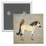 Violet Horse & Owl Button