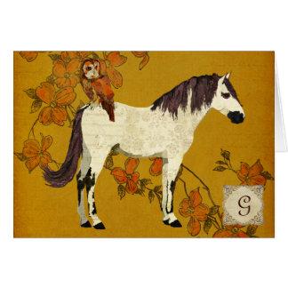 Violet Horse & Owl Monogram Notecard