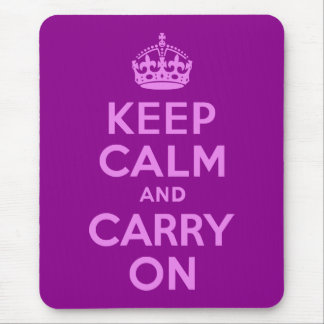 Violet Keep Calm and Carry On Mouse Pad