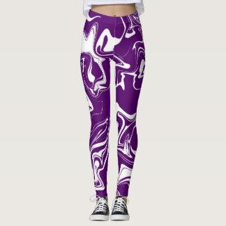 Violet marble abstract effect leggings. leggings