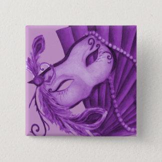 Violet Masquerade 2 Inch Square Button