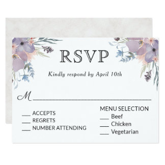 Violet Meadow Wedding RSVP with Menu Choices Card