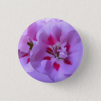 Violet Pink Abstract Hibiscus Flower 1 Inch Round Button