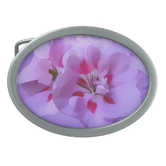 Violet Pink Abstract Hibiscus Flower Belt Buckles